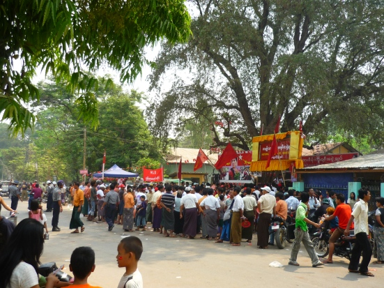 National League for Democracy campaigning at their Bagan office a day before the elections on 01 April 2012 in Myanmar