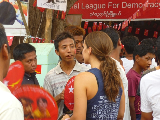 Exchanges with local Burmese Aung San Suu Kyi supporters during Myanmar elections April 2012