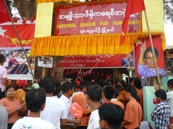 National League for Democracy Office during Myanmar elections in April 2012 in Bagan