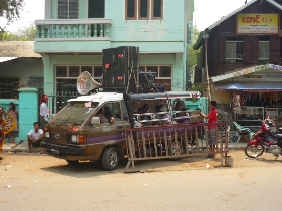 Van with speakers and megaphones showing support for Aung San Suu Kyi before parliamentary elections in Myanmar in April 2012