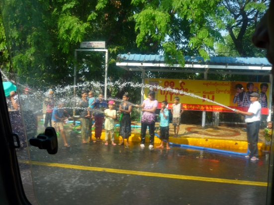 Wherever you go, you simply cannot escape getting drenched with water during Myanmar's Water Festival in Yangon